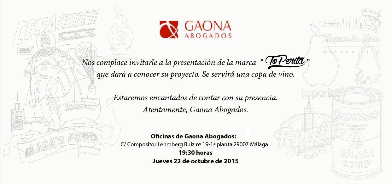 """Presentación de la marca """"To Perita"""" que se va a celebrar en el despacho de la asociada Mª Paz de los Ríos"""